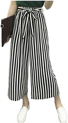 春物セール ストライプ ワイドパンツ オンオフ兼用 カジュアル 通勤 着痩せ効果 リボンベルト M~XL レディース