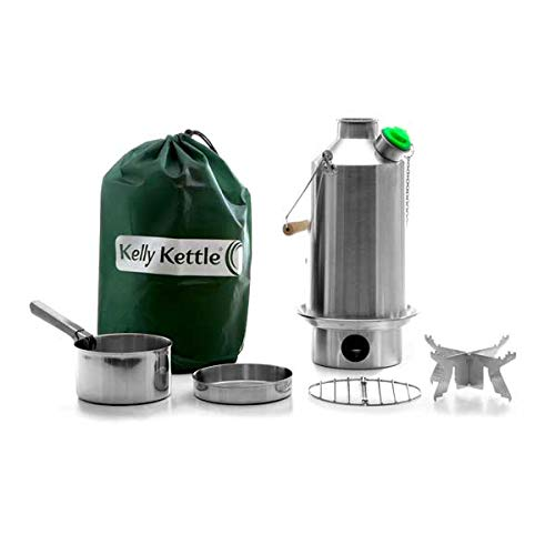Kelly Kettle Base Camp 54 oz. Stainless Steel Basic Kit 1.6 LTR Rocket Stove Boils Water Ultra Fast with just Sticks Twigs. for Camping, Fishing, Scouts, Hunting, Emergencies, Hurricanes, Tornados