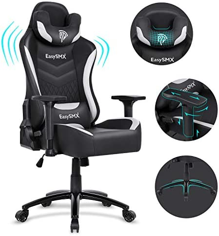EasySMX Big and Tall Gaming Chair Racing Office Computer Game Chair Ergonomic Backrest and Seat Height Adjustment Recliner Swivel Rocker