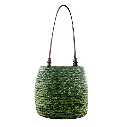 - Leiyini Bohemian RetroHandwoven StrawBraidedBagLeather Straps Bucket Bag Handbags BeachWovenStorageBag with BeadsforWomen Girls/Green