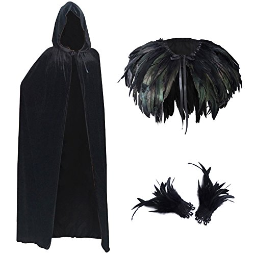 L'vow Fashion Gothic Hooded Womens Black Feather Cape Cuffs Cloak Long Coats Set (Theatrical Witch Costumes)