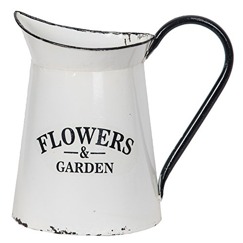 Distressed White Enamel Half Pitcher Wall Mounted Planter 'Flowers & Garden' by DCI