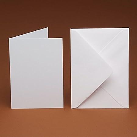 100 x A6 WHITE HAMMER POSTCARD STYLE CARD BLANKS /& ENVELOPES-WEDDING INVITES ETC