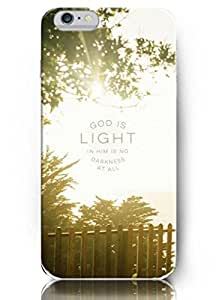 Iphone 6 plus Case OUO Inspiration Quotes god is light in him no darkness at all 1 JOHN 1:5 ESV Hard Plastic Iphone 6 Plus 5.5 inch Case Cover Protection