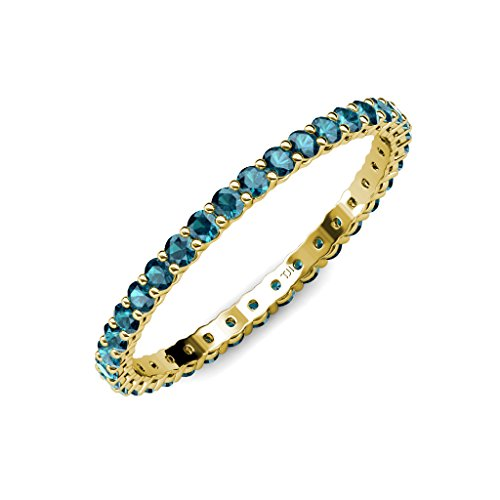 TriJewels London Blue Topaz 2mm Gallery Shared Prong Eternity Band 0.91-1.09 ctw 14K Yellow Gold.size 7.5