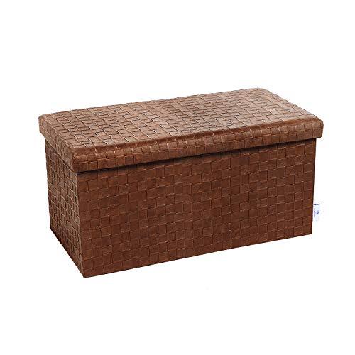 (B FSOBEIIALEO Folding Storage Ottoman, Faux Leather Footrest Stool Long Bench, Brown 30