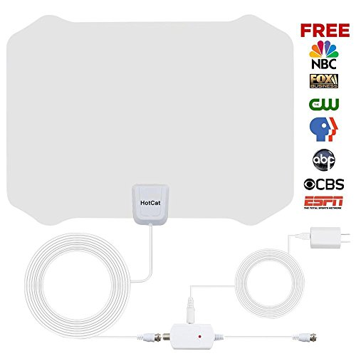 HotCat TV ANTENNA 136 TV Indoor Amplified HDTV Antenna 60--80 Mile Range with Detachable Amplifier Signal Booster and 16.5 Feet Coaxial Cable For 4K 1080P Free TV (White)--2018 new version Free Antenna Booster