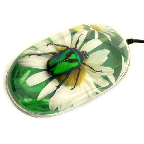 Chafer Green - REALBUG Green Chafer Beetle Computer Mouse with Flower Print Background