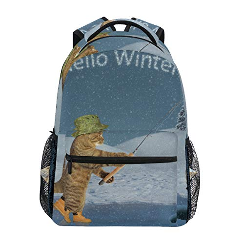 TARTINY Cat Green Hat Boots Ice Fishing Lightweight School backpack Students College Bag Travel Hiking Camping Bags