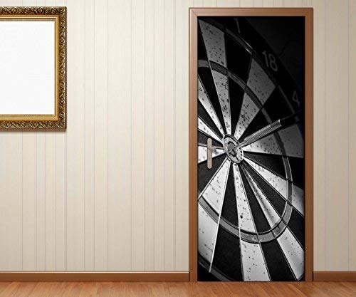 Türaufkleber Sport Dart Pfeil Dartscheibe schwarz weiß Tür Bild Türposter Türfolie Türtapete Poster Aufkleber 15A1785, Türgrösse 90cmx200cm