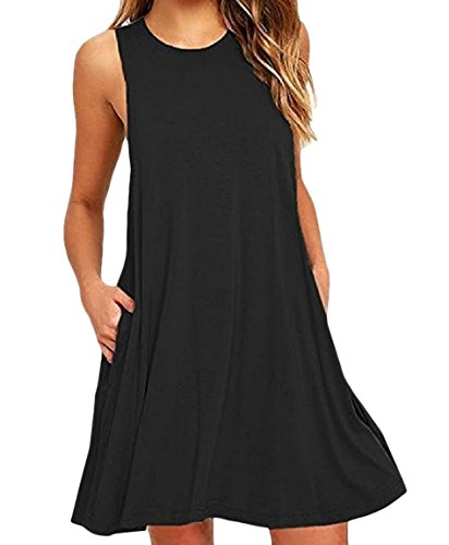 Coolred Style Sleeveless Pocket Solid Tank Colored Black Women's Baggy Sundress rFqnxWr