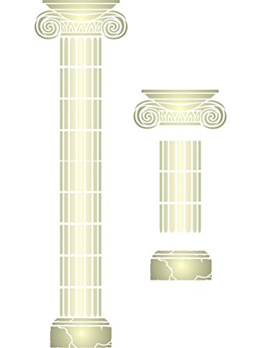Greek Column Stencil - Bundle - 3 items: Capital + Section + Base - Reusable Wall Stencils - Best Quality Ionic Architectural Ideas - Use on Walls, Floors, Fabrics, Glass, Wood and More...