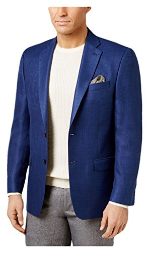 RALPH LAUREN Lauren Men's Classic-Fit Neat UltraFlex Linen Blend Sport Coat Jacket (Bright Navy, 38S) -