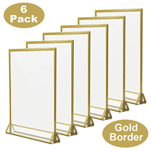 (TOROTON Clear Acrylic Sign Holder with Gold Borders and Vertical Stand, 8.5 x 11 Double Sided Table Display for Wedding Table, Photos Display - Pack of 6)