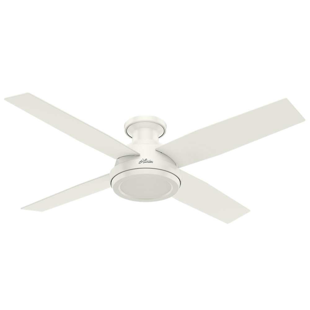 Hunter 59248 Dempsey Low Profile Fresh White Ceiling Fan With Remote, 52''