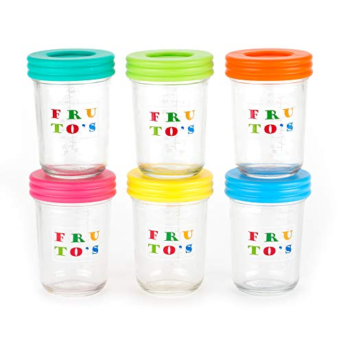 Glass Baby Food Storage Containers - Set Contains 6 Large Reusable 8oz Jars with Airtight Lids - Safely Freeze Your Homemade Baby Food, BPA Free Glass
