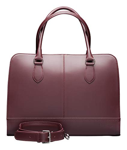 - Su.B.dgn 13.3 Inch Laptop Bag for Women | Designer Briefcase, Handbag, Messenger Bag Without Trolley Strap | Split Leather | Made in Italy | Bordeaux Red