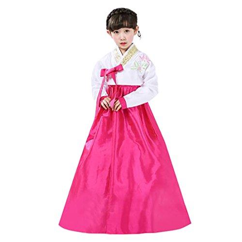 Korean Costume For Girl Kids (Ez-sofei Girls Korean Traditional Costumes Hanbok Dresses 130 White&Red)