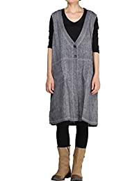 Mordenmiss Women's New Linen Sleeveless Vest Front Big Pockets Tops