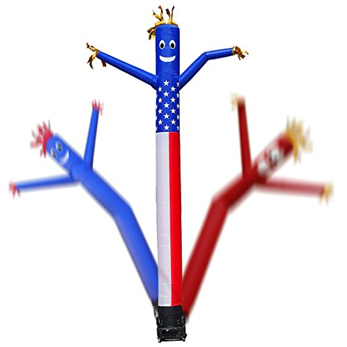 Mkevi American Flag Sky Air Puppet Dancer Inflatable Arm Flailing Tube Man 20-Feet Wacky Wavy Wind Flying Dancing Man for DIY Stand Out Advertising (No 18Inch Blower)