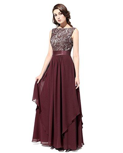 Long Bridesmaid Evening Dress Bridesmay Gown Prom V Chiffon Burgundy Dress Party Back awEWq6d