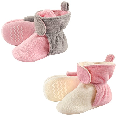 Hudson Baby Baby Cozy Fleece Booties with Non Skid Bottom, 2 Pack, Light Pink/Cream 2-Pack, 18-24 Months