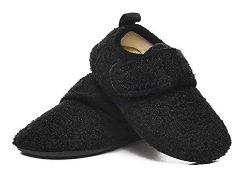 SLEVEL Toddler Boys Girls Non Slip House Slippers Little Kids Lightweight Winter Warm Indoor Home Shoes(S191006Black21)