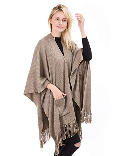 Women Knitted Sweater Coat - Cashmere Poncho Capes Shawl Wraps Cardigans (Brown)