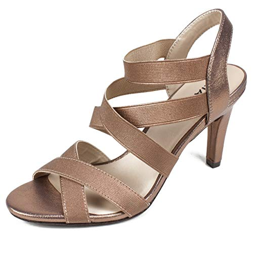 RIALTO Shoes Roselle Women's Heel, Bronze/Metallic, 9 M