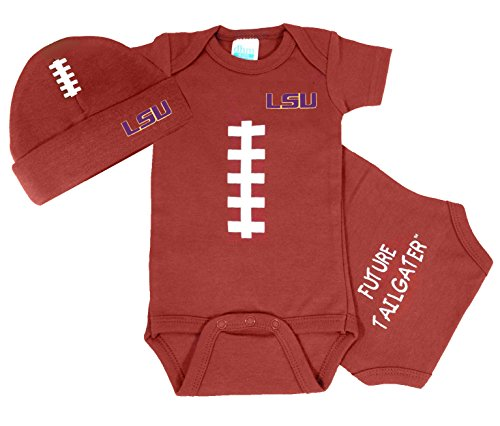 LSU Tigers Baby Football Onesie and Football Hat Set