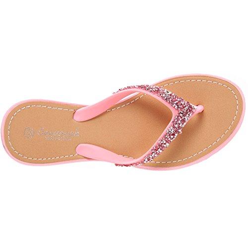 Unze Mujeres Pisos Glitter Adorned 'Wini' Thong Zapatillas Rosa