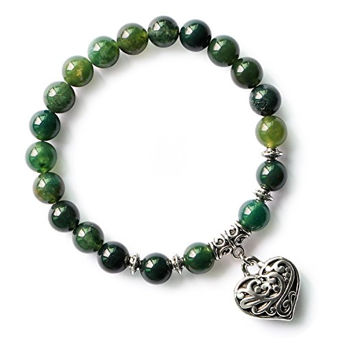 MHZ JEWELS Green Moss Agate Crystal Beads Bracelet Heart Charm Jasper Stone Stretch Bracelets for Women Girls