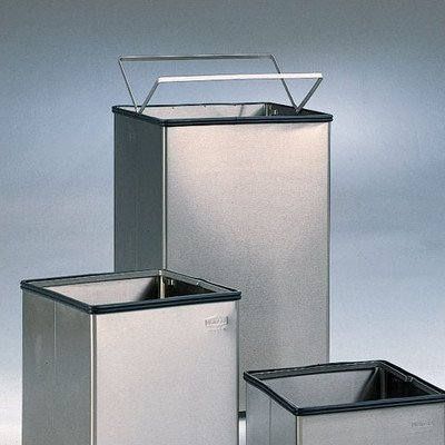 40-Gal Large Open Top Stainless Steel Receptacle [Set of 3] Liner: Poly Bag Retainer Bands -