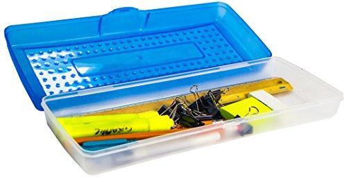 Storex Stretch Pencil Box, 5.6 x 13.4 x 2.52 Inches, Blue, Case of 12 (61467U12C) by Storex (Image #1)