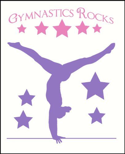 Wall Decor Plus More WDPM2500 Balancing Gymnast With Stars and Gymnastics Rocks Girls Room Wall Sticker Over 4-Feet Tall, Soft Pink/Lilac