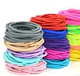 FOK Set Of 25 Pcs High Quality Effortless Mix Color Elastic Cotton Stretch Hair Ties Bands Headband Durable Hair accessories Ponytail Holder No Snagging Or Stretching Rubber Bands