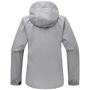 Wantdo Women's Sportswear Windbreaker Front Zip Hooded Outdoor Windproof Rain Jacket for Bowling Grey L
