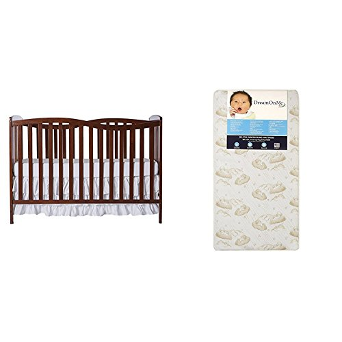 Dream On Me Chelsea 5-in-1 Convertible Crib with Dream On Me Spring Crib and Toddler Bed Mattress, Twilight