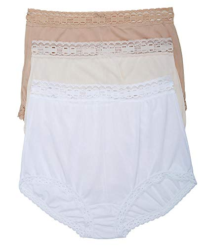 Olga Women's Secret Hugs 3 Pack Brief Panty, French Toast/Pale Blush/White, XL