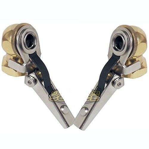 Two Brass Lock On Tire Inflator Locking Air Chuck Air Hose Attachment 1/4'' NPT by Flexible