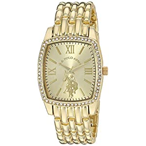 U.S. Polo Assn. Women's Stainless Steel Quartz Watch with Alloy Strap, Gold, 18 (Model: USC40234)