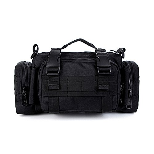 Tailcas® 600d impermeable utilidad táctica cintura Pack bolsa bolso bandolera bolso militar Camping senderismo bolsa deporte al aire libre multiusos bolsa, especialmente diseñado para niños/adolescent negro