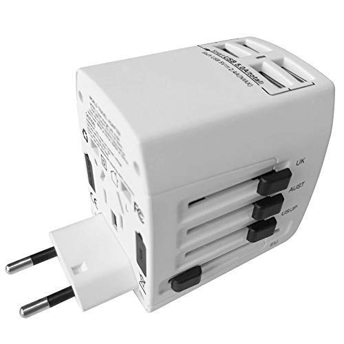Universal Travel Adapter Gifbest World Wide All in One AC Power Plug Outlet Adapter Wall Charger with 4 Smart Fast Charging USB Ports for Cellphone Tablet Laptop (White)