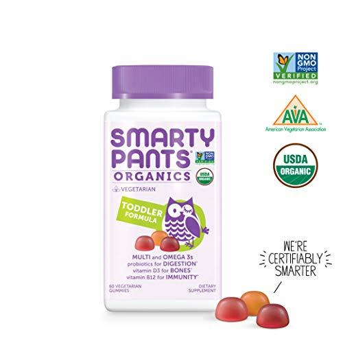 SmartyPants  Organic Toddler Formula Daily Gummy Vitamins: Probiotic, Vitamin D3, Vitamin B12, Gluten Free, Zinc, Methylfolate, Omega-3, Methylcobalamin, Vegetarian, Non-GMO, 60 Count (30 Day Supply) (Best Gummy Vitamins For Toddlers)