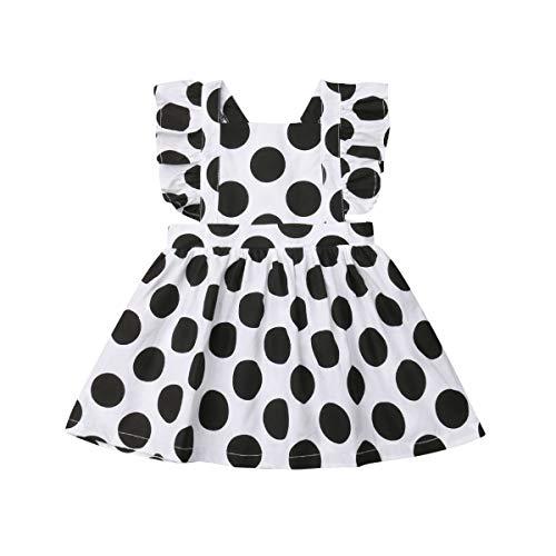 Mubineo Toddler Baby Girl Infant Polka Dot Ruffle Sleeveless Cross Straps Overall Dress (Black/White, 6-12 Months)]()