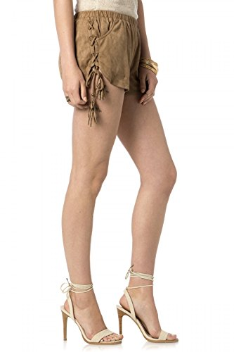 Miss Me MDP144S Brown Suede Side Tie Shorts (Small) ()