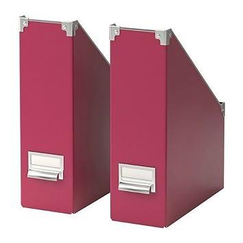 Ikea Kassett , 2 unidades organizador de archivador de revistas carpeta, de color rosa oscuro por Ikea: Amazon.es: Oficina y papelería