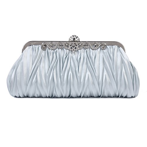 Damara Cinched Clutch Satin Vintage Evening Handbag Women's Silver Envelope Purse 7ICw7rq