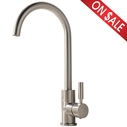 Single Hole Faucet (Comllen Best Commercial Brushed Nickel Stainless Steel Single Handle Kitchen Sink Faucet, Single Lever Kitchen)