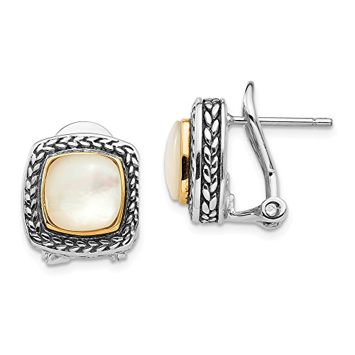Sterling Silver Bezel Polished Omega back Post Earrings Antique finish With 14k Simulated Mother of Pearl Earrings